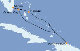 Itinerario de crucero Bahamas 7 días a bordo del MSC Meraviglia