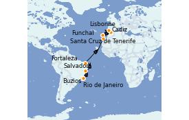 Itinerario de crucero Trasatlántico y Grande Viaje 2022 16 días a bordo del MSC Preziosa