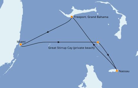 Itinerario del crucero Bahamas 4 días a bordo del Norwegian Sky
