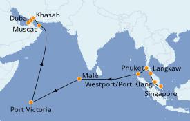 Itinerario de crucero Asia 21 días a bordo del Norwegian Jade