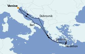 Itinerario de crucero Grecia y Adriático 8 días a bordo del MSC Musica