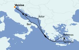 Itinerario de crucero Grecia y Adriático 8 días a bordo del MSC Sinfonia