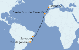 Itinerario de crucero Trasatlántico y Grande Viaje 2021 13 días a bordo del Celebrity Silhouette
