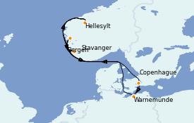 Itinerario de crucero Fiordos y Noruega 8 días a bordo del MSC Musica
