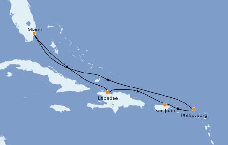 Itinerario del crucero Caribe del Este 7 días a bordo del Jewel of the Seas