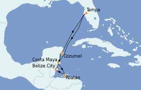 Itinerario de crucero Caribe del Oeste 8 días a bordo del Serenade of the Seas