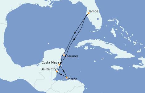 Itinerario del crucero Caribe del Oeste 7 días a bordo del Serenade of the Seas