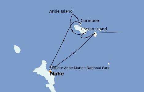 Itinerario del crucero Océano Índico 8 días a bordo del Le Champlain