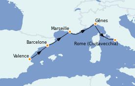 Itinerario de crucero Mediterráneo 5 días a bordo del Costa Firenze