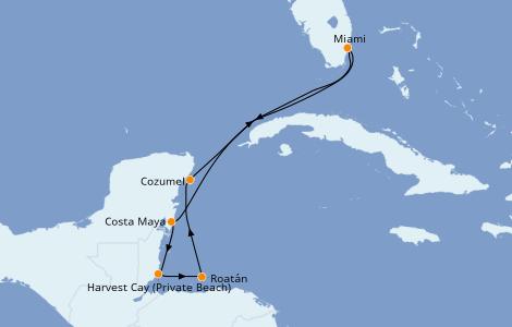 Itinerario del crucero Caribe del Oeste 7 días a bordo del Norwegian Joy