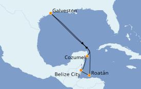 Itinerario de crucero Caribe del Oeste 8 días a bordo del Carnival Breeze