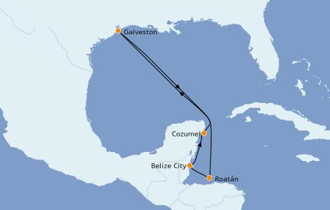 Itinerario del crucero Caribe del Oeste 7 días a bordo del Carnival Breeze