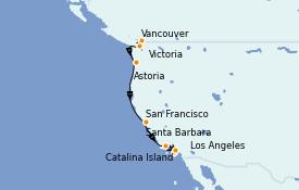 Itinerario de crucero California 9 días a bordo del Celebrity Millennium