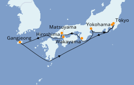 Itinerario de crucero Asia 10 días a bordo del MSC Bellissima