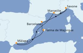 Itinerario de crucero Mediterráneo 8 días a bordo del Costa Favolosa