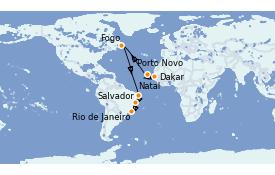 Itinerario de crucero Suramérica 16 días a bordo del Silver Cloud Expedition