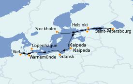 Itinerario de crucero Mar Báltico 10 días a bordo del Norwegian Dawn