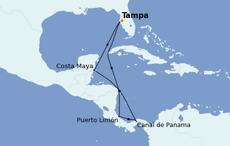 Itinerario del crucero Caribe del Oeste 8 días a bordo del Carnival Pride