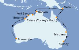 Itinerario de crucero Australia 2020 18 días a bordo del Sapphire Princess