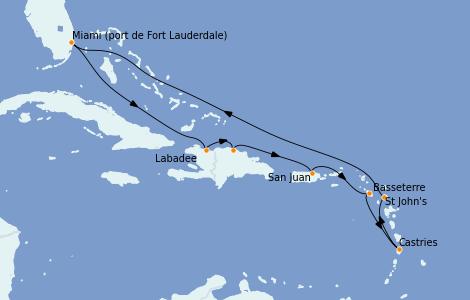Itinerario del crucero Caribe del Este 10 días a bordo del Vision of the Seas