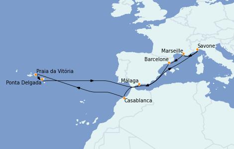 Itinerario del crucero Mediterráneo 14 días a bordo del Costa Pacifica
