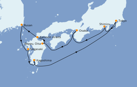 Itinerario del crucero Asia 9 días a bordo del Norwegian Sun