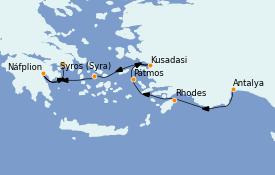 Itinerario de crucero Grecia y Adriático 7 días a bordo del Le Bougainville