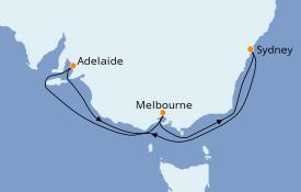Itinerario de crucero Australia 2022 8 días a bordo del Queen Elizabeth