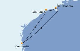 Itinerario de crucero Suramérica 5 días a bordo del Costa Favolosa