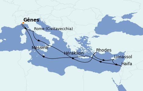 Itinerario del crucero Mediterráneo 11 días a bordo del MSC Lirica