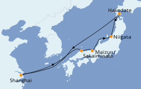 Itinerario de crucero Asia 9 días a bordo del Sapphire Princess