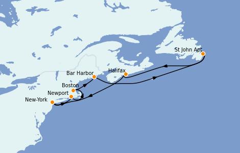 Itinerario del crucero Canadá 7 días a bordo del Enchanted Princess