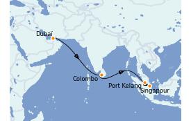 Itinerario de crucero Asia 11 días a bordo del Queen Mary 2