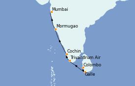 Itinerario de crucero India 10 días a bordo del Le Champlain