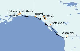 Itinerario de crucero Alaska 8 días a bordo del Sapphire Princess