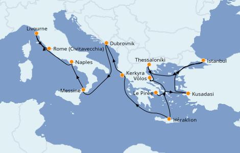 Itinerario del crucero Grecia y Adriático 11 días a bordo del Norwegian Jade