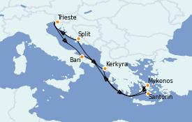 Itinerario de crucero Grecia y Adriático 8 días a bordo del Costa Luminosa