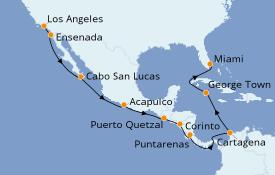 Itinerario de crucero Riviera Mexicana 17 días a bordo del Seven Seas Navigator