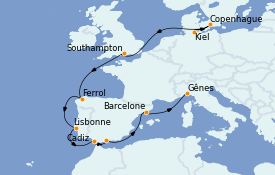 Itinerario de crucero Mediterráneo 13 días a bordo del MSC Grandiosa