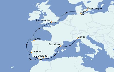 Itinerario del crucero Mediterráneo 12 días a bordo del MSC Grandiosa