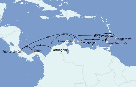 Itinerario del crucero Caribe del Este 14 días a bordo del Grandeur of the Seas