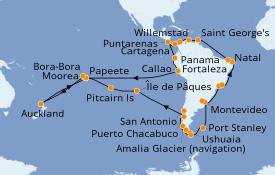 Itinerario de crucero Australia 2021 83 días a bordo del Pacific Princess