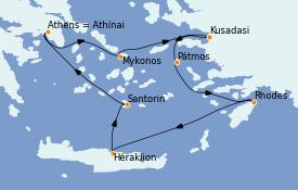 Itinerario de crucero Grecia y Adriático 5 días a bordo del Celestyal Olympia