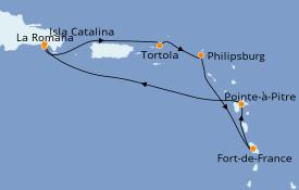 Itinerario de crucero Caribe del Este 8 días a bordo del Costa Fortuna