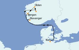 Itinerario de crucero Fiordos y Noruega 8 días a bordo del MSC Preziosa