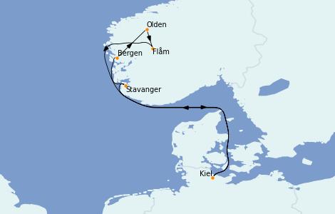 Itinerario del crucero Fiordos y Noruega 7 días a bordo del MSC Preziosa
