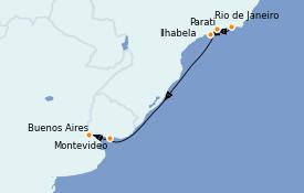 Itinerario de crucero Suramérica 10 días a bordo del Silver Cloud Expedition