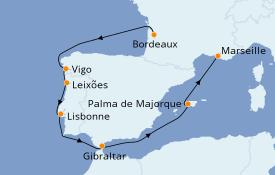 Itinerario de crucero Mediterráneo 11 días a bordo del Jules Verne