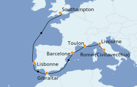 Itinerario de crucero Mediterráneo 10 días a bordo del Enchanted Princess