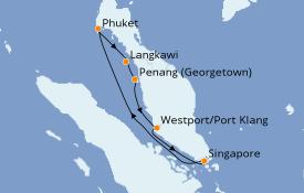 Itinerario de crucero Asia 9 días a bordo del Norwegian Jade
